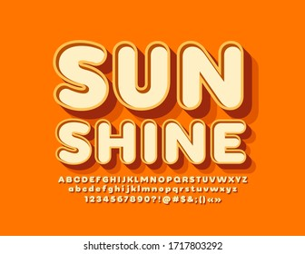 Vector Sunshine Font. 3D creative Alphabet Letters and Numbers