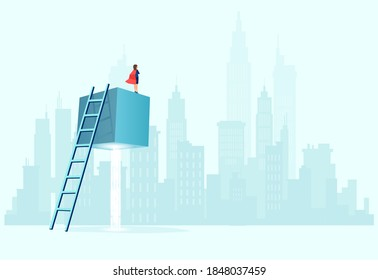 Vector of a super businesswoman with red cape standing on the top of a suspended cube looking at a cityscape