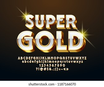Vector Super Gold and White Chic Font. 3D Luxury Alphabet Letters, Numbers and Symbols