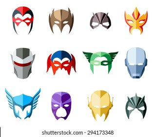 Vector super hero masks for face character in flat style. Illustration mask,  heroic and savior