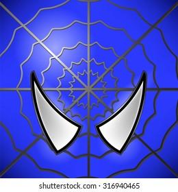 Vector Superhero Blue  Icon. Mask Large Eyed  Superhero. Symbol of Hero