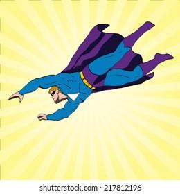 Vector superhero flying