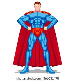 Vector Superhero Posing Isolated On White Background