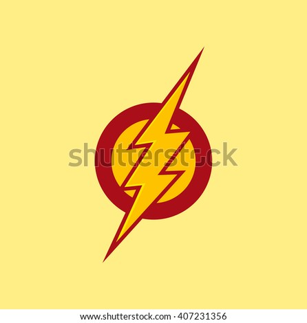 Vector Superhero Symbol Flash Red Color Stock Vektorgrafik