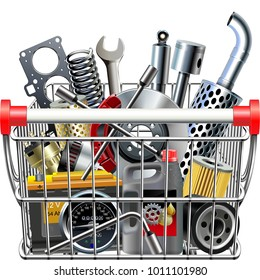 Vector Supermarket Cart with Car Parts Rear View  isolated on white background