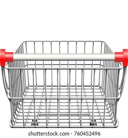 Vector Supermarket Cart Rear View isolated on white background