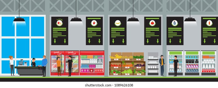 Vector Supermarket interior vector illustration in flat style with high detailed. Customers buy products at hyper food store.