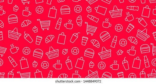 Vector supermarket shop fast food pattern. Food and goods seamless red background