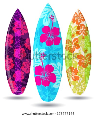 Vector Surf Boards Hibiscus Flower Design Stock Vector Royalty Free