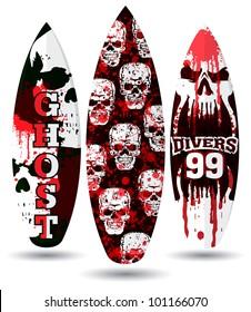 Vector surf boards ( Skull design )