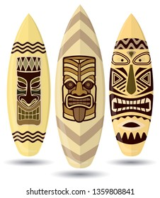 Vector surf boards ( Tiki Mask Design ) - Vector