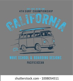 vector surf bus illustration and text print