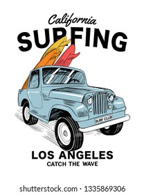 Vector surf car illustration with surfboards . For t-shirt prints and other uses.