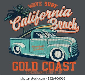 vector surf car and palm tree illustration