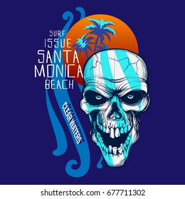 Vector Surf  graphic with a scary skull / palm trees and sunset