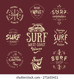 Vector Surf Graphics, insignias, typography, t-shirt, apparel design. Texture effects can be turned off.