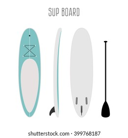 Vector surf sup board with three sides. Blank template. Three projections. Surfboard types. Surfboard icon. Surfboard figure.