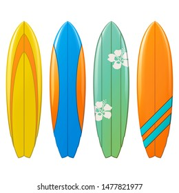 Vector Surfboard Icons isolated on white background