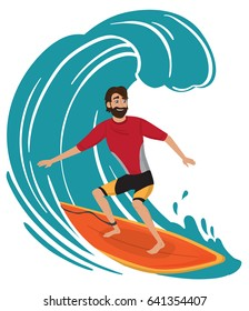 vector surfer character in wetsuit with surfboard standing and riding on ocean wave.