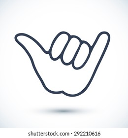 Vector surfer's hand sign isolated on white