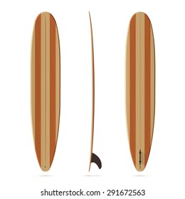 Vector surfing longboard all sides view with wooden texture
