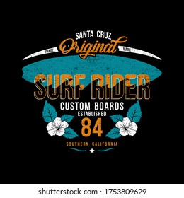 vector surfing themes with typography, surfboard and flowers, surf rider, surfing vector art