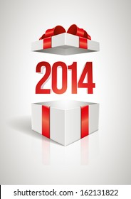 Vector surprise 2014 open gift box design template. Elements are layered separately in vector file.