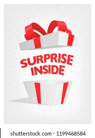 Vector surprise open gift box.