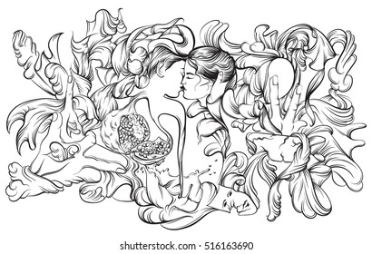 Vector surreal illustration with kissing lovers hands garnet and floral forms. Artwork in realistic line hand drawn style. Template for card poster banner and print for t-shirt