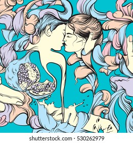 Vector surreal illustration with kissing lovers hands garnet and floral forms. Artwork in realistic line hand drawn style. Template for card poster banner and print for t-shirt.