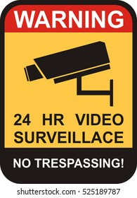 vector surveillance and CCTV camera yellow signs.