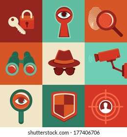 Vector surveillance and control concepts - trendy icons in flat style