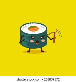 Vector sushi cartoon character illustration