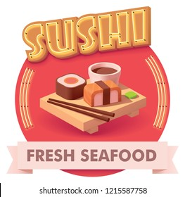 Vector sushi icon with retro neon sign. Illustration or label for fast food restaurant menu