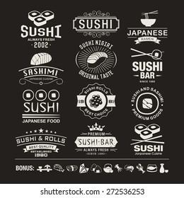 Vector Sushi logotypes set. Sushi vintage design elements, logos, badges, label, icons and objects