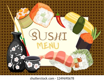 Vector sushi menu on the background of a wicker mat. Various sushi around a leaf in a frame with inscriptions