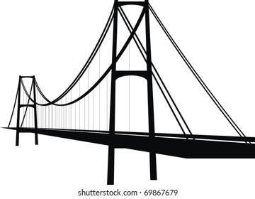 Vector suspension cable bridge - isolated illustration on white background, black silhouette.