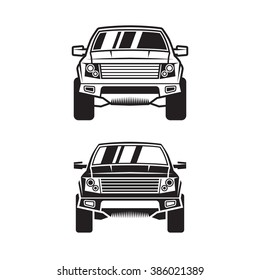 Vector SUV for label, logo, cover, banner, poster, print, sticker or tattoo. Line style. Set of two.