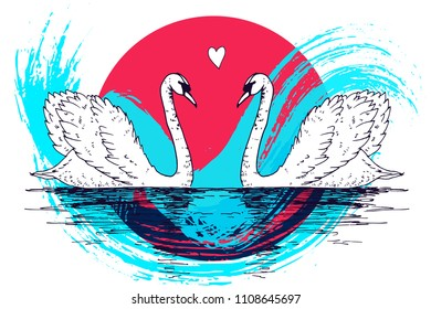 Vector swan couple illustration with watercolor paint splash. Swimming elegant swan birds in love, beautiful wild nature sketch. Royal swan ink outline illustration, hand drawn animal.