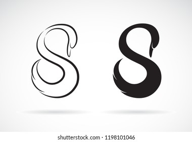 Vector of swan design on a white background. Animal. Easy editable layered vector illustration.