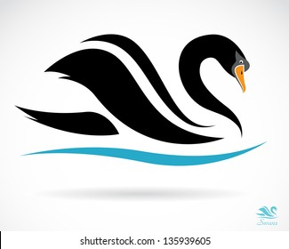 Vector of a swan design on a white background. Black Bird. Wildlife. Animal. Easy editable layered vector illustration.