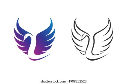 Vector of swan design on white background. Easy editable layered vector illustration. Wild Animals.