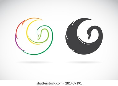 Vector of swan design on a white background. Logo. Bird. Animal. Easy editable layered vector illustration.