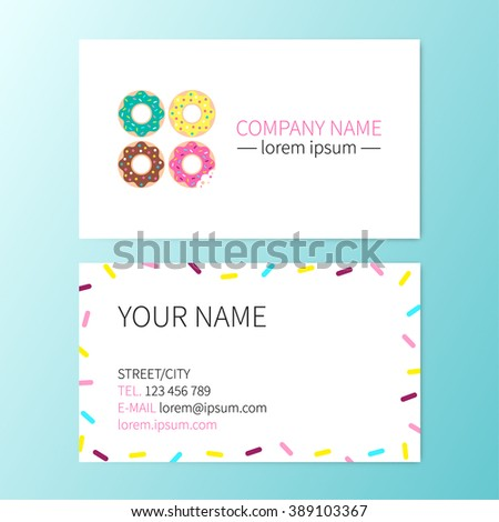 Vector Sweet Business Card Donut Cafe Stock Vector Royalty Free