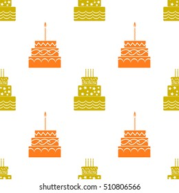 Vector Sweet Cakes Silhouettes Isolated on White Background. Seamless Pattern.