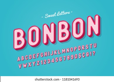 Vector sweet candy font design, alphabet, typeface, letters and numbers, typography.
