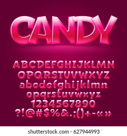 Vector sweet candy glossy letters, number, symbols. Contains graphic style