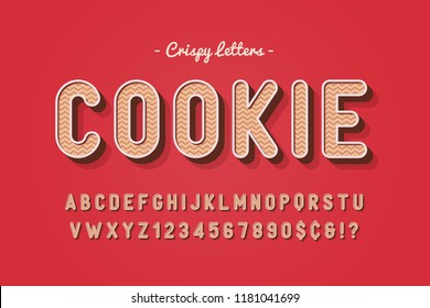 Vector sweet cookie font design, alphabet, typeface, letters and numbers, typography.