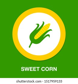 vector sweet corn illustration isolated - healthy vegetable, nutrition icon