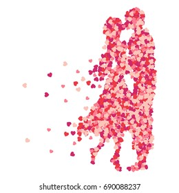 Vector sweet couple lover silhouette of a confetti splash, vector design, hand drawn. Valentines Day background congratulation card. Heart shape of a lot of small hearts on a white background.